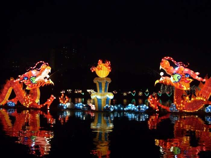 The animal shaped lanterns during the mid Autumn festival in Singapore are popular attractions