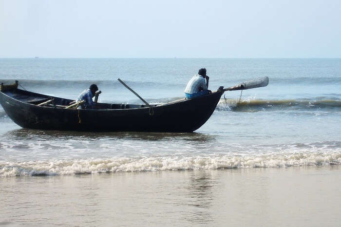 A shot of a fishing boat in Mandarmani Sea Beach