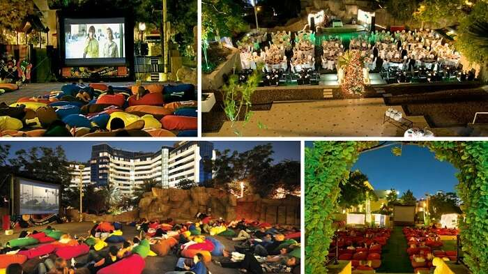 Watching movies under the sky at Pyramids Rooftop Gardens in Dubai