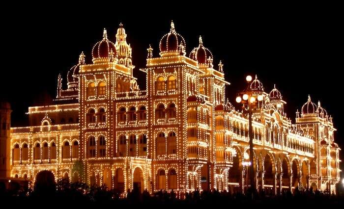 The historic Mysore Palace remains illuminated for all the ten nights of Dussara celebration