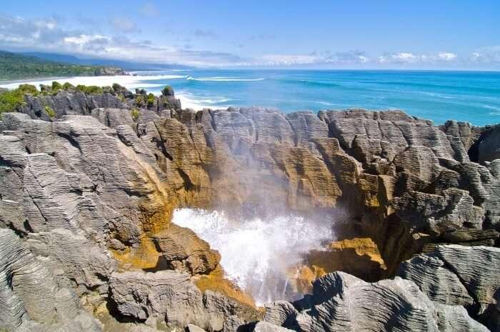 The stunning Pancake Rocks at Punakaiki on West Coast of South Island