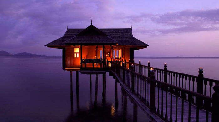 Romantic above water cottage at Pangkor Laut Resort