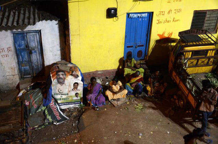 Jai Shri Ram written on the walls of Ravindra nagar