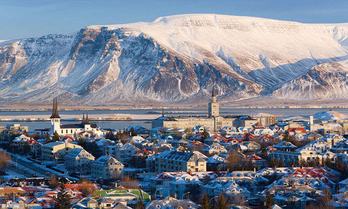 The mountains and urban settlement of Reykjavik, the capital city of Iceland.