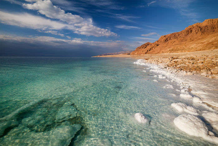 Salt reserves in Dead Sea which borders Israel and Jordan