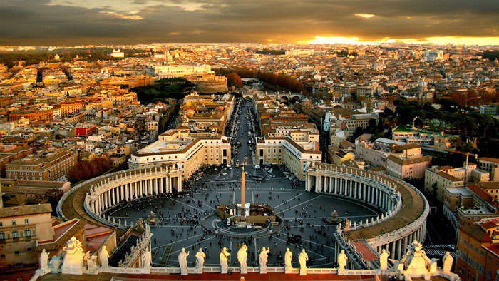 View of Rome and St. Peter's Square from the dome of St. Peter's Basilica in Vatican City.