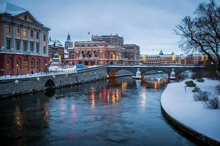 The frozen banks of Stockholm in Sweden