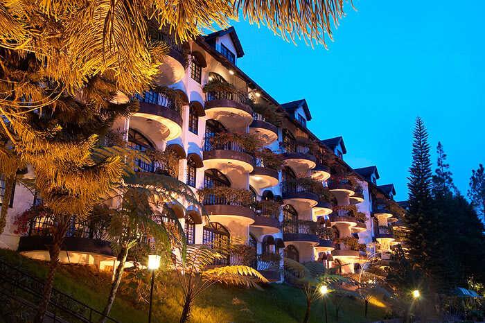An illuminated Strawberry Park Resort