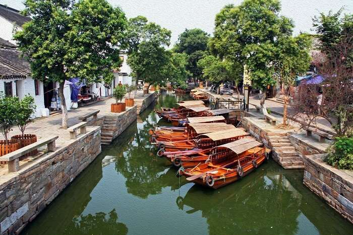 The boats decked at canal city of Suzhou in China