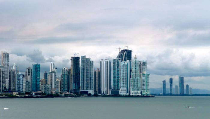 The skyline of Panama City near Cinta Costera.