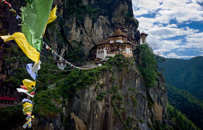 Tiger's Nest Monastery which is just hanging at the edge of a cliff in Bhutan is extraordinary in autumn season
