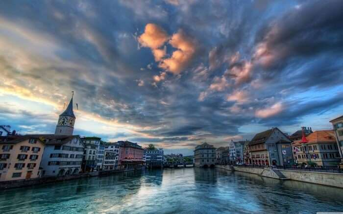 An evening view of Zurich