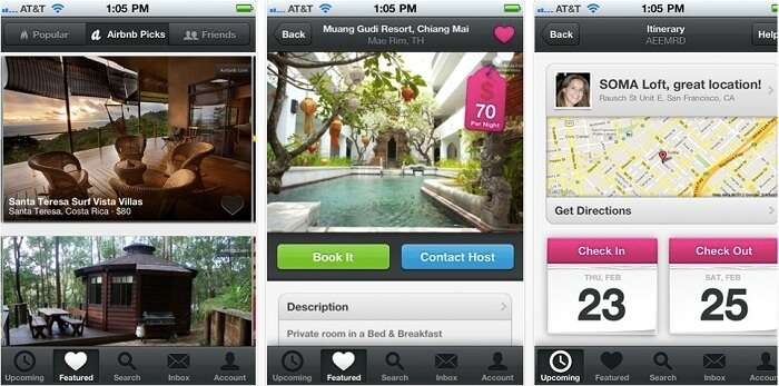 The iOS interface of Airbnb travel app