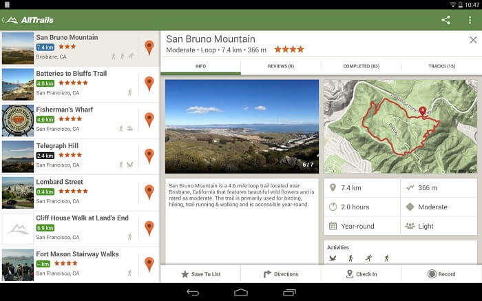 The interface of the AllTrails travel app