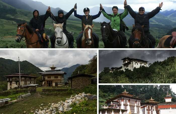 A collage of the various places in Bumthang to visit on honeymoon trip to Bhutan