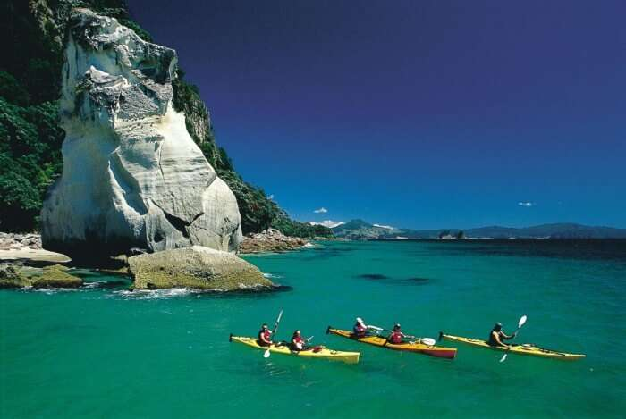 Kayaking at Cathedral Cove for that adventurous New Zealand honeymoon