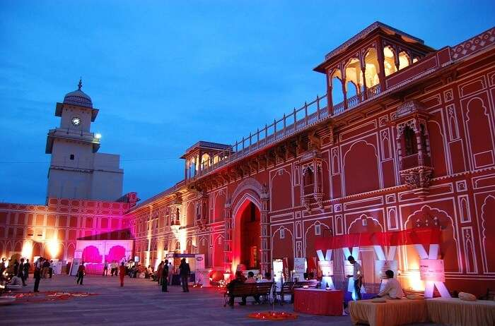Night view of the city palace in Jaipur