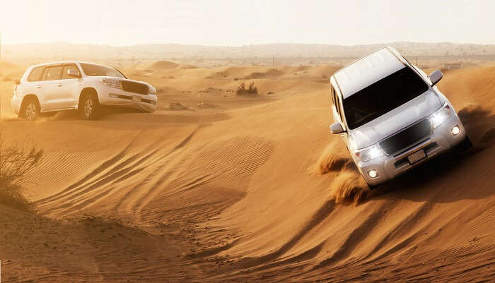 Experience the adrenaline rush as you go rambling in the desert in an SUV