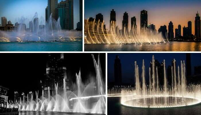 The beautiful views of the dancing Dubai fountains