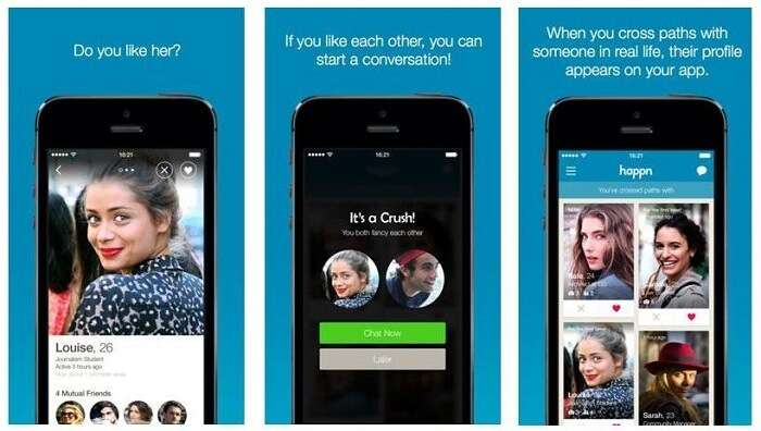 Use of Happn app for dating and meeting new people
