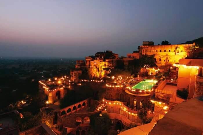 The Neemrana fort looks stunning in the night lights