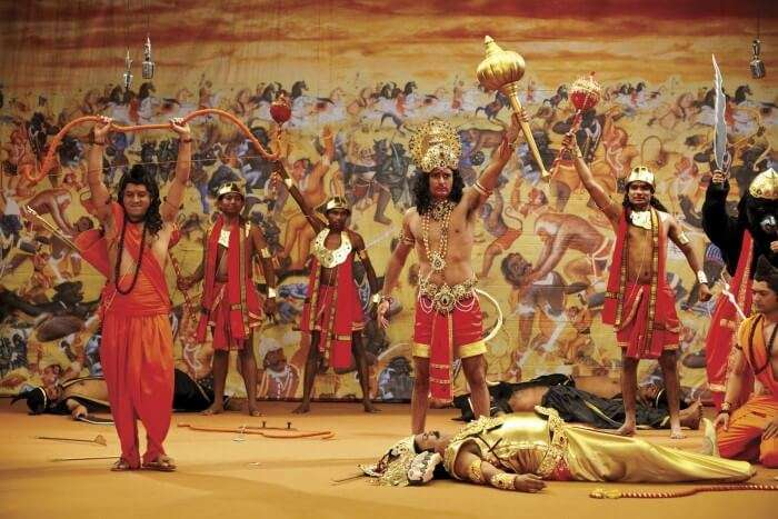 A scene from ramayan being enacted during the season of Dussehra in Delhi
