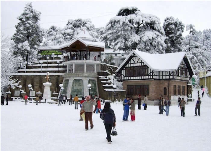 A view of the snow-clad city of Shimla in winters