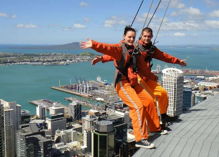 Honeymooners try sky-jumping at sky towers on their honeymoon trip to New Zealand