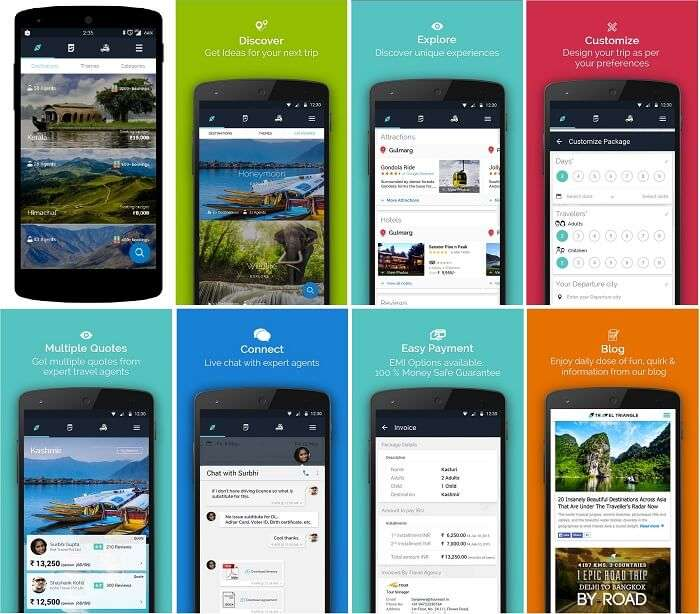 The various features of the traveltriangle mobile app