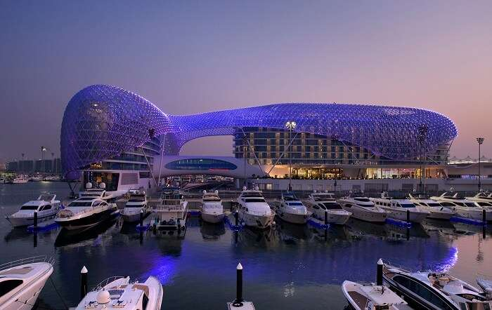 The beautiful man-made Yas Mall is one of the best places to see in Abu Dhabi.