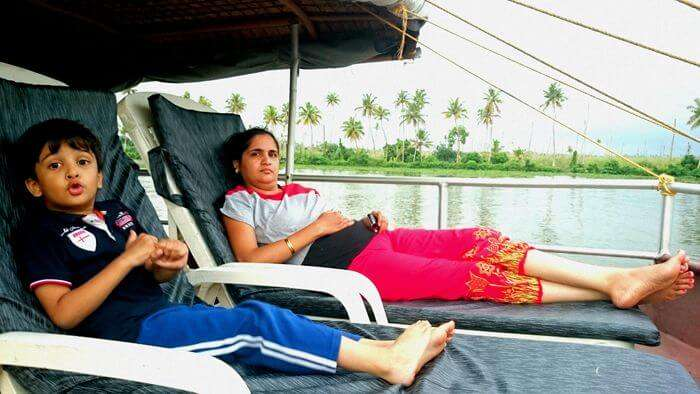 The beautiful view from the Alleppey houseboat