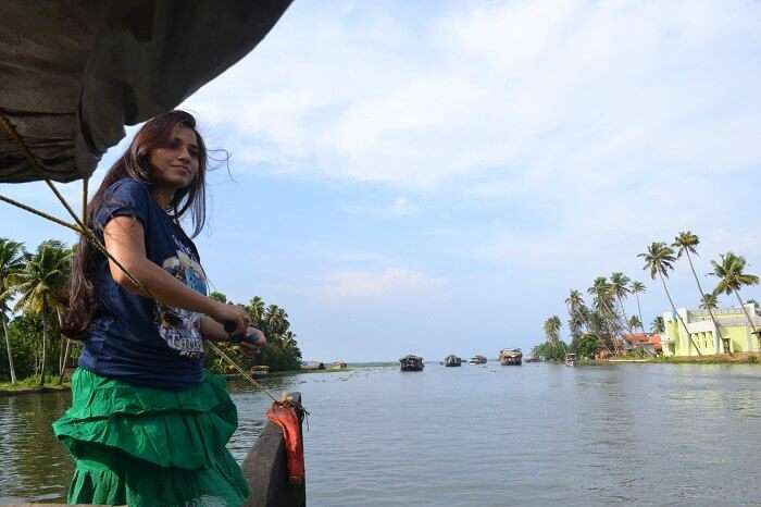 Neha in Alleppey Backwaters