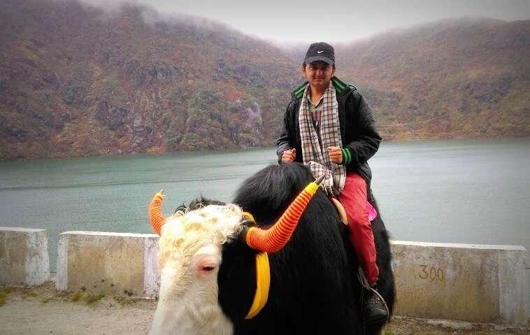 Balasubramanian on a Yak near Tsomgo Lake in Sikkim