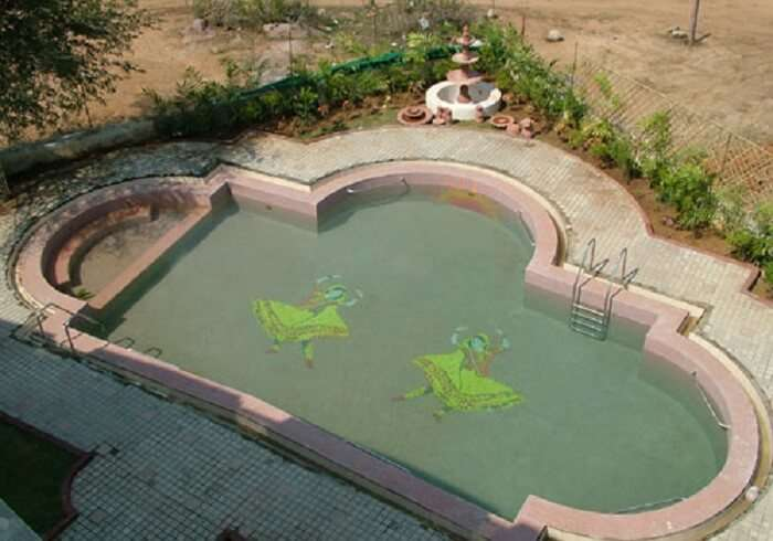 The Radha Krishna themed pool at Brindavan Resort