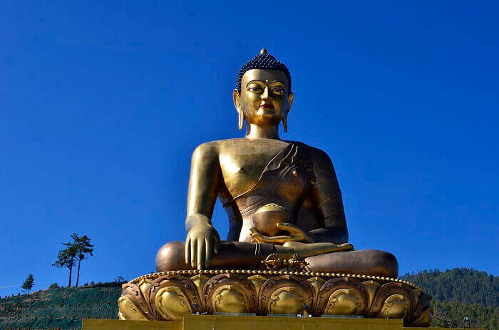 The gronze-gold Buddha Dordenma Statue is among the popular Bhutan tourist places