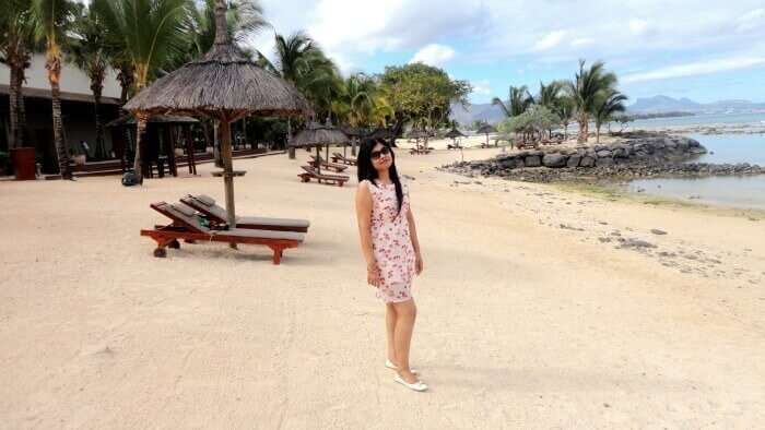 Ramandeep at a beautiful beach in Mauritius