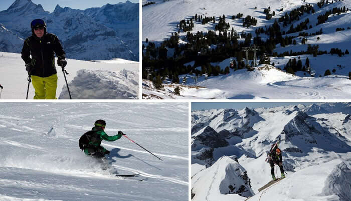 A collage of the winter sports at Grindelwald