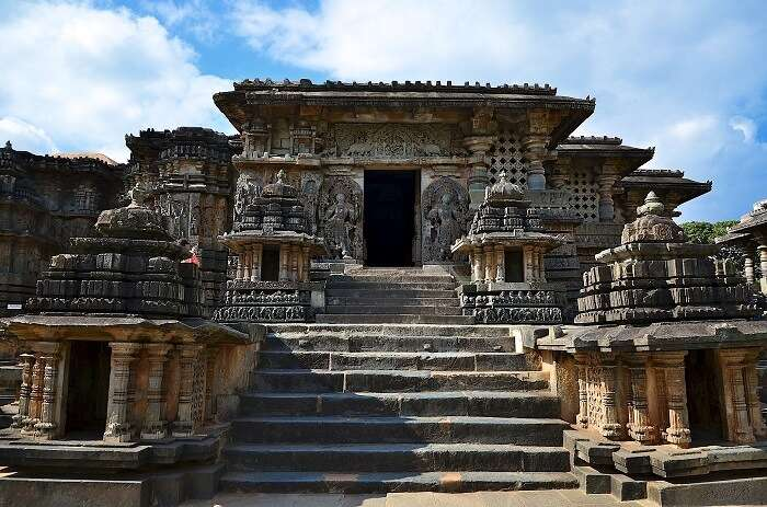 Hoysaleswara Temple's entrance in Halebidu