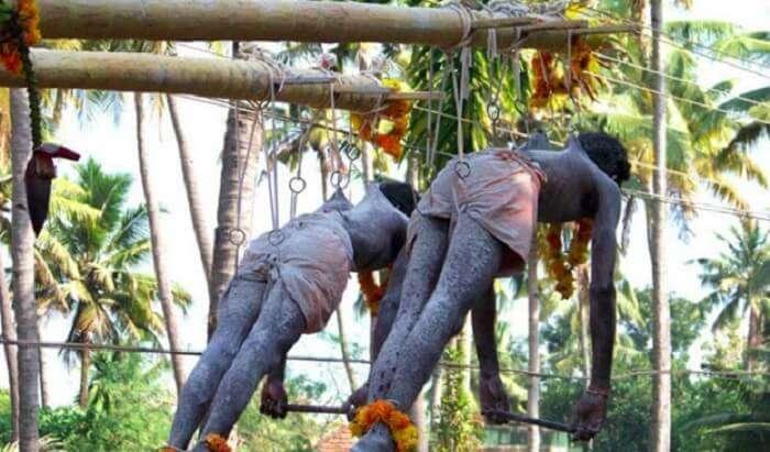 Hanging on hooks at Garudan Thookkam