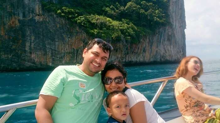 Apurva and family on the cruise to Coral Island Bangkok