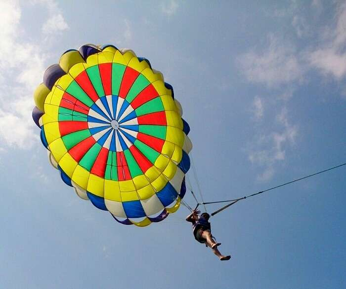 Apurva doing Parasailing in Coral Island
