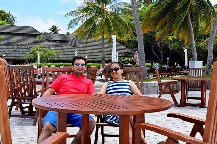 Yatin and his wife in a restaurant in Paradise Island Resort Maldives