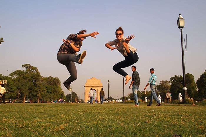 Friends having fun at India Gate