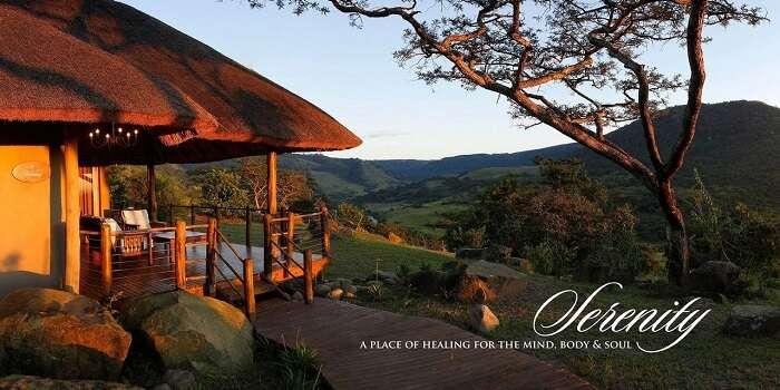 The scenic cottage view at Karkloof Safari Spa resort