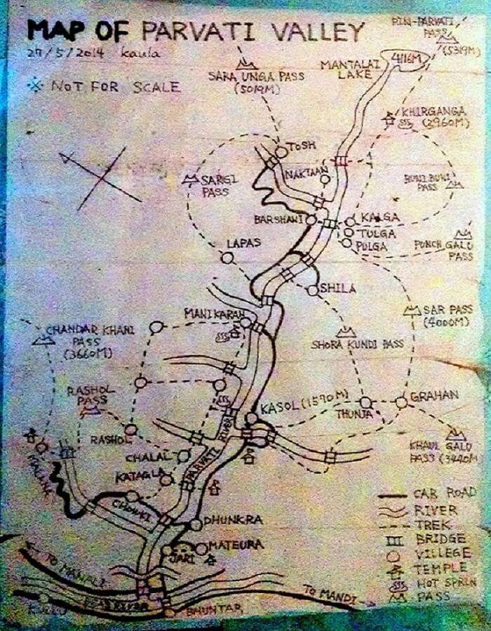Detailed route map of Kheer Ganga trek