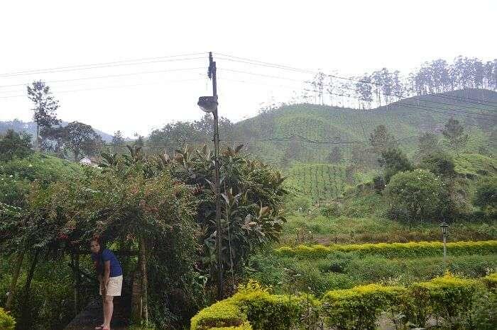 Neha posing in a garden in Munnar