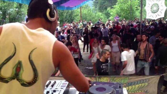 A DJ performing at the famous trance festival in the Parvati Valley