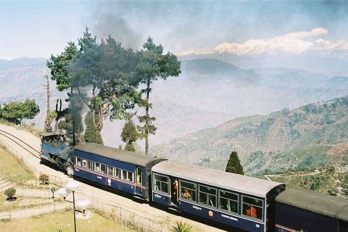 Toy train gushing through the Himalayan ranges