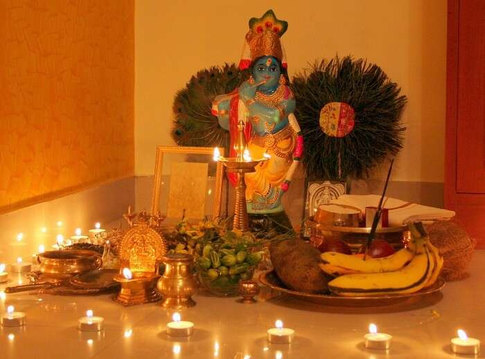 The idol of Lord Krishna during the Vishu Puja