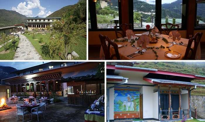 A collage of the many views of Yangkhil Resort at Trongsa